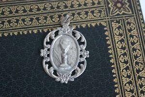 Médaille Religieuse Ancienne Argent Communion Art Nouveau 1910 Religious Medal
