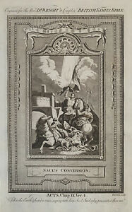 1770 Saul's Conversion, Acts Biblical Antique Copperplate Print