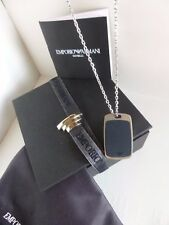 New Emporio Armani EGS2116040 Plate Sterling Silver Military Pendant Necklace