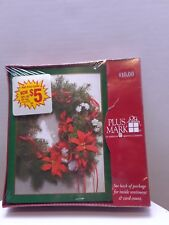 New 20 count wreath Christmas Greeting Cards Plus Mark