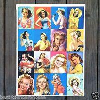 Original WALLET SIZE PINUP GIRLS Lithograph Print Sheet 1940s Unused NOS