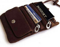 Brown Genuine Leather Cross Body Bag ID Holder Neck Pouch Travel Passport