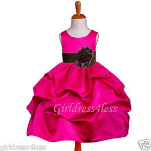 FUCHSIA/BROWN PAGEANT WEDDING PICK UP FLOWER GIRL DRESS 6M 12M 18M 2 4 6 8 10 12