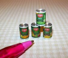 Miniature Quality Brand Canned Foods (Set of 4): DOLLHOUSE Miniatures 1/12 Scale