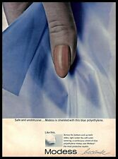 1965 Modess Hygiene Napkins Vintage PRINT AD Personal Care Products Blue Fabric