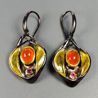 Fine art Jewelry Set Natural Carnelian 925 Sterling Silver Earrings /E37820