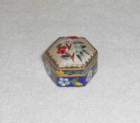 Vintage Blue Floral Cloisonne Pill or Snuff Box with Petit Point Embroidered Lid