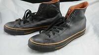 Converse All Star Chuck Taylor Mono Black Tan Line Leather Hi Top Trainers UK 9