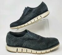 Cole Haan ZeroGrand Grand.OS Black Suede Wingtip Dress Shoes Mens Size 11M