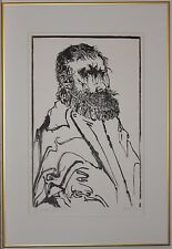 Listed American Artist LEONARD BASKIN, original woodcut print signed,