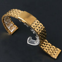 Golden Buckle 18/20/22mm Stainless Steel Men's Boy's Wrist Watch Band Strap
