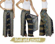 Thai Harem Trousers - Pleat Wrap Open Leg Split Yoga Palazzo Pants Hippy Aladdin