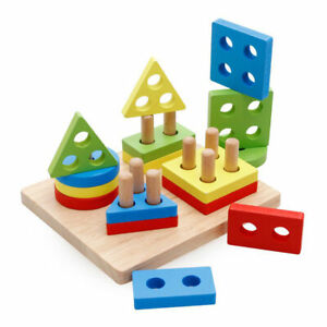 Kids Wooden Puzzle Building Blocks Toys Colors Shapes Early Learning Educational