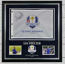 More details for ian poulter signed & framed ryder cup pin flag 2018 with proof aftal coa (ftomm