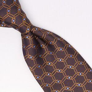 Robert Talbott Best of Class Mens Silk Necktie Brown Copper Blue Diamond Weave