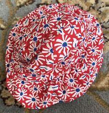 Janie And Jack Flower Beach Hat RED Floppy Bucket Hat Size 6-12 Months