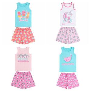 Girls Shorts Short Sleeve Pyjamas Pj's Set Cotton Rich Unicorn Mellon Ice-lolly