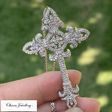 925 Solid Sterling Silver Large Cross Cubic Zirconia Classic Necklace Jewellery