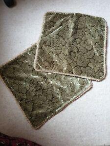 """Original 60's 70's Pair of  Velvet  Feel Cushion Cover Green Square 15"""" x 15"""""""