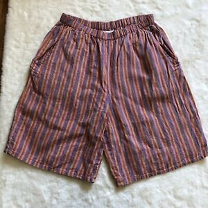 Flax striped shorts 100% linen pockets size small