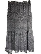 Ann Taylor Loft Skirt XS Long Maxi Gray Geometric Overlay Elastic Waist Tiered