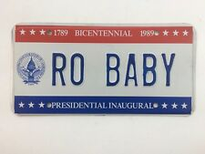 Washington DC 1989 Single Old License Plate Garage Vtg Inaugural Vanity RO BABY