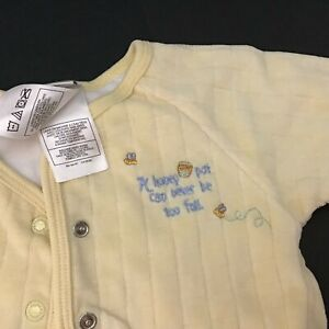The Disney Store Infant 3-MO Yellow Winnie The Pooh Snap Soft Lined Top Sweater