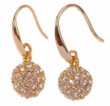 Swarovski Elements Crystal Ball Earrings 18K Gold Plated New 7153y