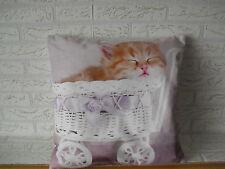 Kissenhülle Kissenbezug Dekokissen Fotodruck Kätzchen im Puppenwagen  40x40 cm