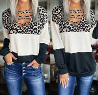 Damen Pullover Pulli Longsleeve Shirt Oberteil Leopard Shirts ZC38