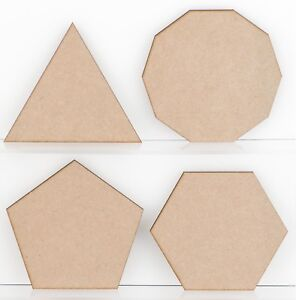 Wooden MDF Shapes, 3mm Polygons Triangle Square Embellishments, Decoration Craft