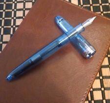 Demonstrator Fountain Pen Custom Fine Nib Blue Black Ink Fine
