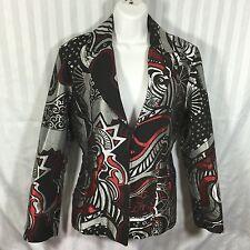 CHICO'S Size 1 Black Silver Red Blazer Jacket