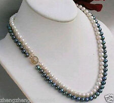 """Real 2rows 7-8mm Black White Pearl Jewelry Necklace 18""""-19"""" AA"""