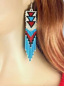 Native style Beaded Handmade Long Fashion Cream Turquoise Hook Earrings E58/16