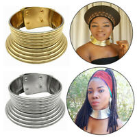 African Women Vintage Silver Gold Necklace Coil Adjustable Choker Maxi Collar yu