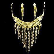 Schmuckset Brautschmuck Ohrringe Halskette Strass gold Bollywood Bauchtanz