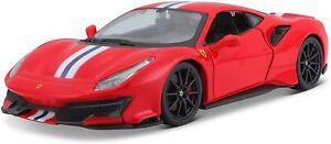1:24 Scale Ferrari 488 Pista Red Detailed Superb Diecast Model Car Bburago 26026