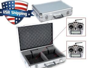 Aluminum Double/Twin RC Transmitter TX Case for Futaba JR Spektrum Hitec Frsky