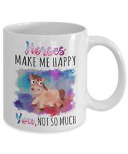 Horses Make Me Happy Coffee Mug Cup 11 oz Funny Horse Gift For Women Girl
