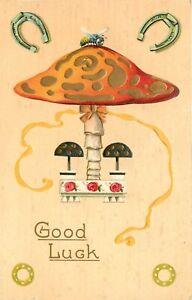 c1907 Embossed Good Luck Postcard 636. Beautiful Amanita Mushroom w/ Fly on it.