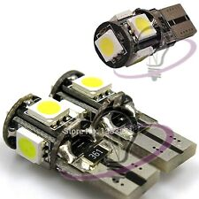 2 LAMPADE AUTO A LED T10 W5W 5 LED SMD 5050 CANBUS NO ERROR LUCE BIANCA 6000K