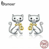 BAMOER Women S925 Sterling Silver Stud Earring Gold Enamel Cat with bell Jewelry