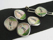 Antique Art Deco era Sterling Silver Essex Glass Crystal Cufflinks Golf Golfer