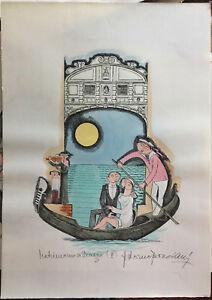 Bonciani Adorno litografia acquerellata a mano Matrimonio a Venezia III 50x70