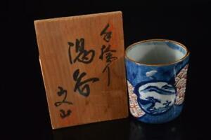 X54: Japan Arita-ware Landscape Pattern Sencha TEACUP Yunomi, auto w/signed box