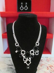 Avon Signature Collection Charming Cheetah Black/Silver Necklace & Drop Earrings