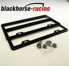 2 Pcs Black Stainless Steel Metal License Plate Frames Tag Cover Screw Caps