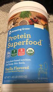 Amazing Grass 20g Protein Superfood Vegan Protein Powder Vanilla 1.45 lbs, 06/23