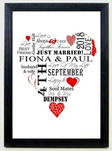 Personalised Word Art Wedding Anniversary Red Heart Shape A4 Print Gift Keepsake
